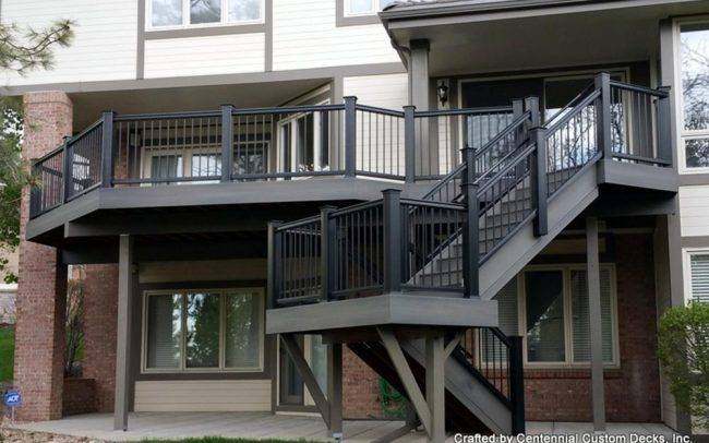 Large custom deck with stairs built by Centennial Custom Decks
